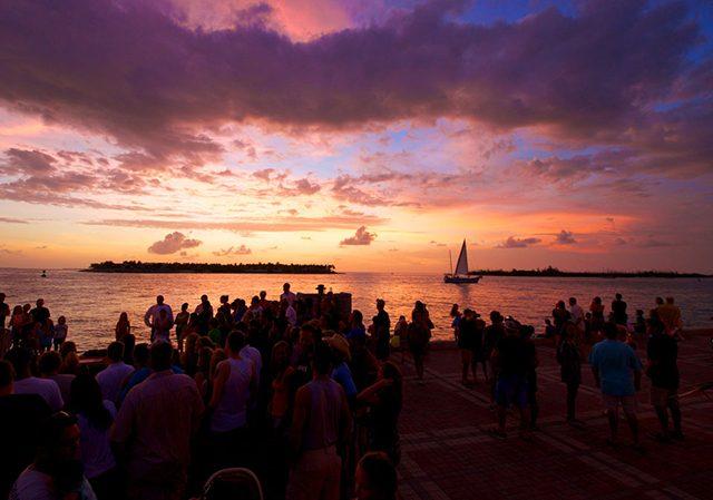 Mallory Square al atardecer en Key West