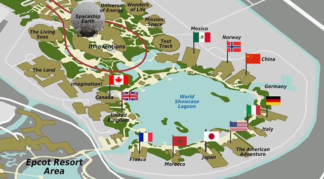Mapa del World Showcase en Epcot en Orlando
