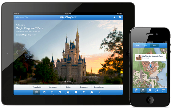 Dispositivos con la aplicación de Disney Orlando