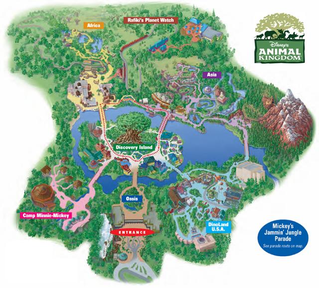 Mapa del Parque Animal Kingdom en Disney en Orlando