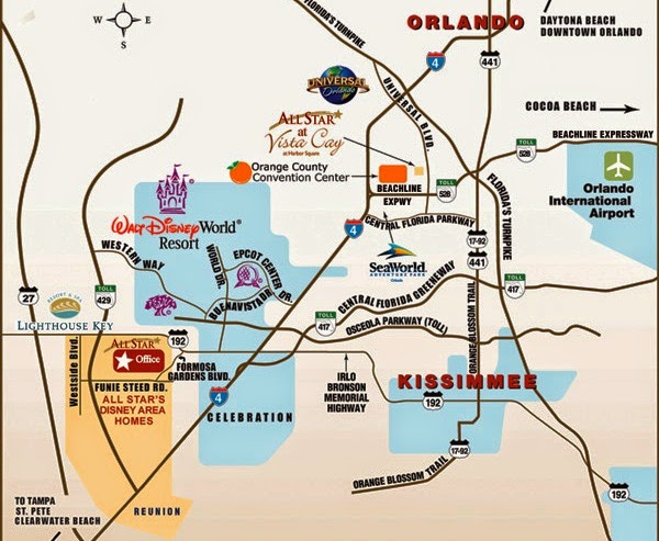 Mapa turistico con atracciones de Orlando