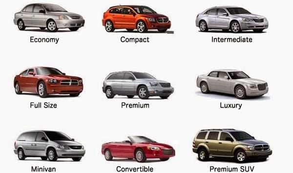 Modelos de auto de alquiler en el viaje a Estados Unidos