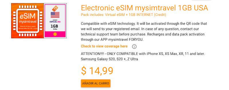 Electronic eSIM mysimtravel 1GB USA