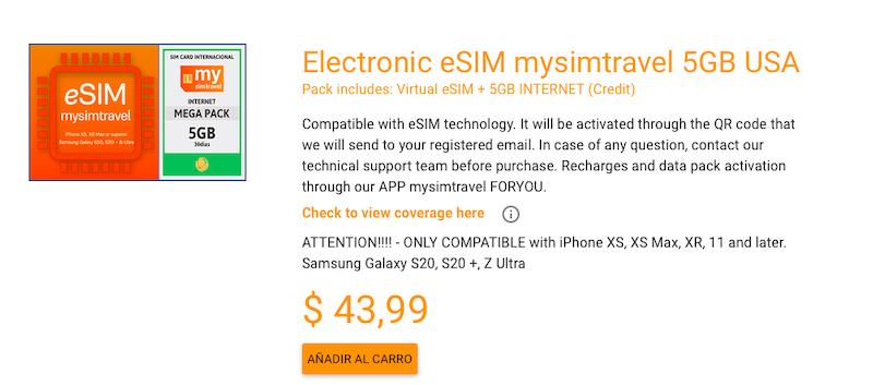 Electronic eSIM mysimtravel 5GB USA